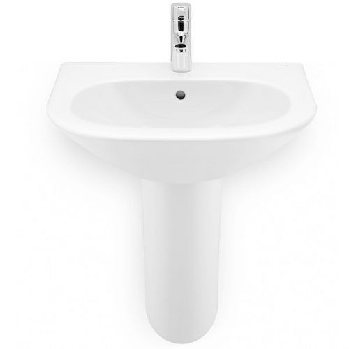 Roca Nexo Round Basin With Semi Pedestal - 600mm - 1 Tap Hole - White